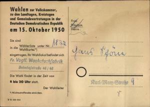 Ak Volkskammer und Landtagswahl 1950, Wählerkarte