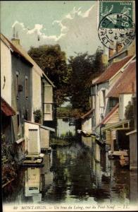 Ak Montargis Loiret, Un bas du Loing, rue du Pont Neuf