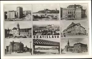 Ak Bratislava Pressburg Slowakei, Rathaus, Markt, Anlegestelle, Hochhaus, Brücke