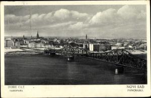 Ak Novi Sad Serbien, Panorama, Brücke
