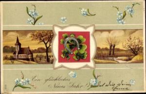 Präge Litho Glückwunsch Neujahr, Kirche, Landschaft, Hufeisen, Kleeblätter