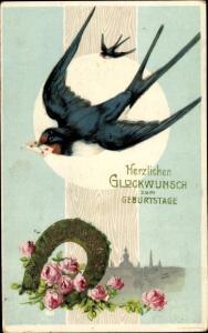 Litho Glückwunsch Geburtstag, Schwalbe, Hufeisen, Rosen