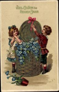 Präge Litho Glückwunsch Neujahr, Vergissmeinnicht, Junge, Mädchen, Weidenkorb