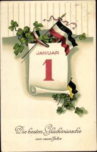 Litho Glückwunsch Neujahr, Kalenderblatt 1 Januar, Kleeblätter, Fahne