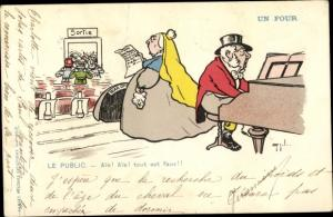 Ak Le Public, Un four, Opernsängerin singt, Mann am Klavier, Humor