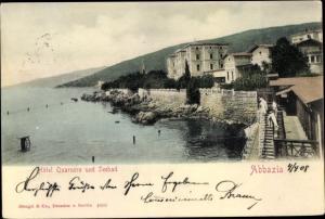 Ak Opatija Abbazia Kroatien, Hotel Quarnero, Seebad, Stengel 4800