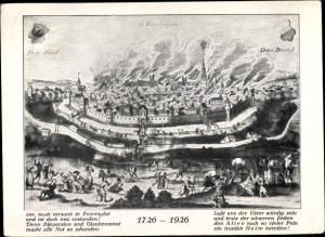 Künstler Ak Reutlingen in Baden Württemberg, Brennende Stadt 1726