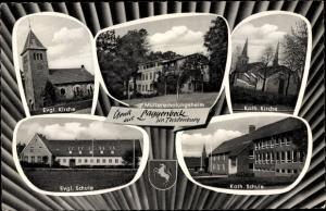 Ak Laggenbeck Ibbenbüren im Tecklenburger Land, Evangelische Kirche, Müttererholungsheim, Wappen