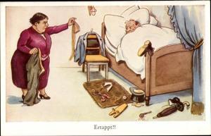 Künstler Ak Ertappt, Ehehumor, Ehefrau findet Strumpf