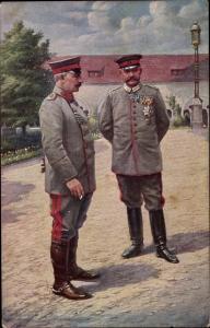 Künstler Ak Kaiser Wilhelm II., Generalfeldmarschall Paul von Hindenburg, Schloss Posen 1915