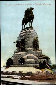 Ak Kraków Krakau Polen, Jagiello Monument