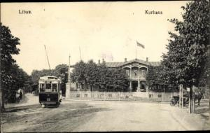 Ak Liepaja Libau Lettland, Kurhaus, Straßenbahn