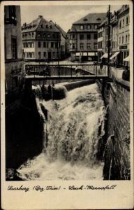 Ak Saarburg Saar bei Trier Rheinland Pfalz, Ortsansicht, Leuk Wasserfall