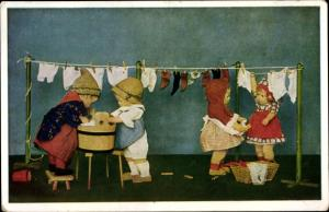 Ak Käthe Kruse Puppen, Waschtag, Novitas 461/1