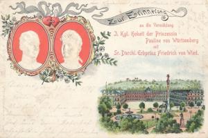 Präge Litho Vermählung Prinzessin Pauline von Württemberg, Erbprinz Friedrich von Wied