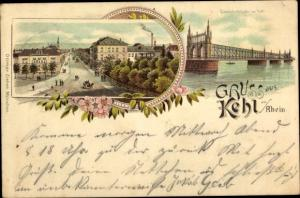 Litho Kehl am Rhein, Ortsansicht, Eisenbahnbrücke