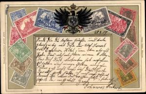 Präge Briefmarken Litho Adler, Wappen, Germania, Deutsches Reich