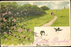 Künstler Litho Mailick, Glückwunsch Pfingsten, Baumblüte, Vögel