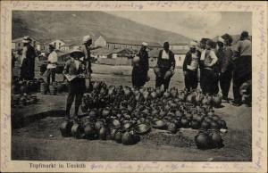 Ak Skopje Mazedonien, Topfmarkt, Verkäufer, Händler, I. WK