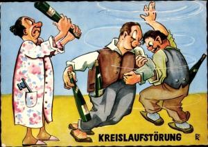 Künstler Ak Kreislaufstörung, Betrunkene, Hausfrau mit Flasche