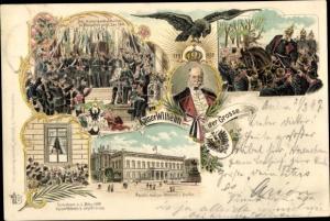 Litho Berlin, Kaiser Wilhelm I., Kaiserproklamation zu Versailles 1871, Portrait, Palais