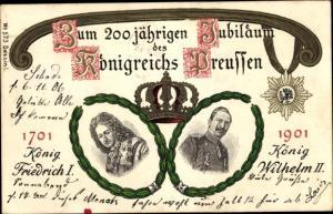 Litho Kaiser Wilhelm II., König Friedrich I., 200 jähriges Jubiläum des Königreichs Preußen 1901