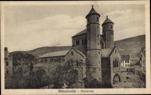 Ak Bad Münstereifel in Nordrhein Westfalen, Ortsansicht, Pfarrkiche