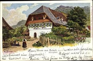 Künstler Ak Gutach Schwarzwaldbahn Baden Württemberg, Gasthaus zur Linde, Zimmer