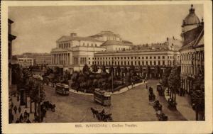 Ak Warszawa Warschau Polen, Großes Theater, Straßenbahn