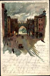 Künstler Litho Kley, Heinrich, München in Bayern, Ansicht vom Karlstor