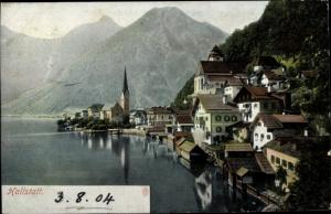 Ak Hallstatt in Oberösterreich, Blick auf den Ort, Kirche, Berge