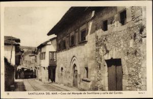 Ak Santillana del Mar Kantabrien, Casa del Marques de Santillana y calle del Canton