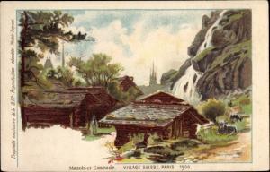 Künstler Litho Exposition Universelle Paris 1900, Village Suisse, Mazots et Cascade
