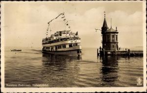 Ak Konstanz am Bodensee, Hafeneinfahrt, Salondampfer Allgäu