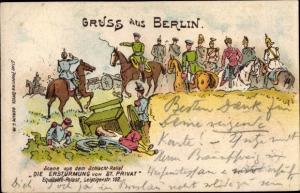 Ak Berlin, Szene aus dem Schlacht Relief Die Erstürmung von St. Privat, Equitable Palast