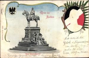 Präge Wappen Ak Aachen in Nordrhein Westfalen, Kaiser Wilhelm Denkmal, Kaiser Wilhelm II.