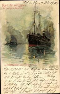 Künstler Litho Dampfschiff SS Noordland, Red Star Line, Antwerpen New York