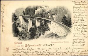 Ak Ravennaschlucht mit Viadukt im Schwarzwald, Eisenbahn