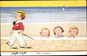 Künstler Ak Wills, John, Wat n branie, Mädchen am Strand schauen Jungen hinterher