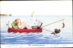 Künstler Ak Wills, John, Mijn buitenboordmotor, Junge im Boot, Hund im Wasser zieht das Boot