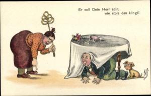 Ak Er soll dein Herr sein, Mann und Hund unter dem Tisch, Hausfrau mit Teppichklopfer