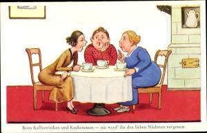 Ak Damen beim Kaffeetrinken und Kuchenessen