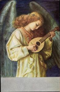 Ak Engel mit einer Laute