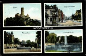 Ak Bad Godesberg Bonn Rhein, Ruine, Bahnhofstraße, Rheinallee, Kurparkpartie
