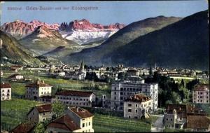 Ak Gries Bozen Südtirol, Totalansicht, Rosengarten