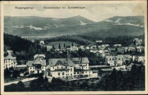 Ak Karpacz Krummhübel Riesengebirge Schlesien, Totalansicht, Schneekoppe