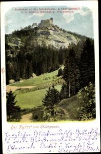 Ak Sobieszów Hermsdorf Kynast Riesengebirge Schlesien, Panorama vom Höllengrund aus