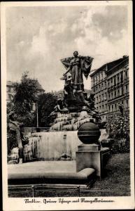 Ak Szczecin Stettin Pommern, Grüne Schanze mit Manzelbrunnen