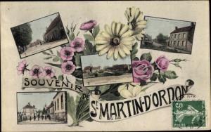 Ak St Martin D'Ordon Yonne, Vue generale, Route de St Loup, La Place