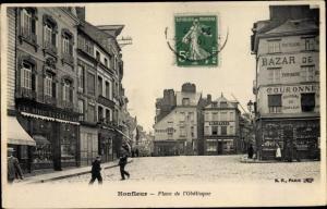 Ak Honfleur Calvados, Place de l'Obelisque